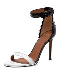 Brogue Back Bicolor Ankle Wrap Sandal Givenchy Black White
