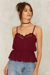 Nasty Gal Vice Peplum Cami Top Red