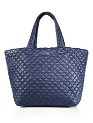 M Z Wallace Metro Large Quilted Nylon Tote Red Navy Black Dark Grey