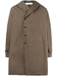 Isabel Benenato Hooded Coat Brown