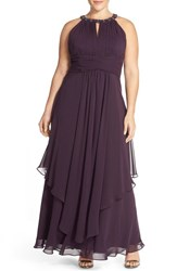 Plus Size Women's Eliza J Embellished Keyhole Neck Chiffon Dress Amethyst