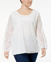 Ing Trendy Plus Size Lace Top Ivory