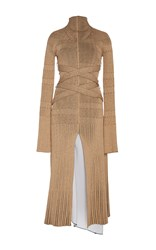 Proenza Schouler Fine Rib Long Sleeve Turtleneck Dress Tan