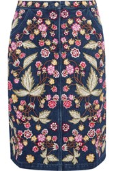 Needle And Thread Wild Flower Embroidered Denim Skirt Dark Denim