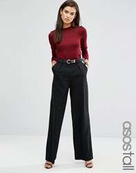 Asos Tall Wide Leg Trousers With Pleat Detail Black