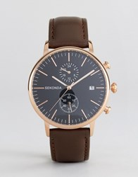 Sekonda Leather Chronograph Watch In Brown Rose Gold