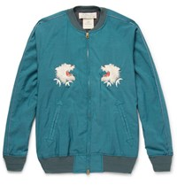 Remi Relief Embroidered Voile Bomber Jacket Petrol
