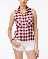 Polly And Esther Juniors' Plaid Sleeveless Button Front Shirt Burgundy White