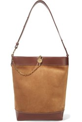 J.W.Anderson Jw Anderson Lock Leather Trimmed Suede Tote Tan