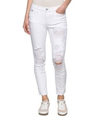 Calvin Klein Distressed Cropped Denim Jeans White