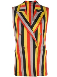 Jean Paul Gaultier Vintage Striped Double Breasted Waistcoat Yellow And Orange