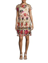 Alexia Admor Floral Printed Sheer Dress Ivory Multicolor