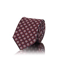 Sartorio Medallion Print Silk Faille Necktie Red
