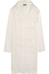 Baja East Hooded Linen And Silk Blend Tunic Ivory