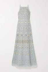 Needle And Thread Sweet Petal Embellished Embroidered Tulle Gown Sky Blue