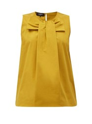 Rochas Pamela Bow Front Cotton Poplin Blouse Yellow