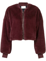 Nicole Miller Faux Fur Bomber Jacket Red