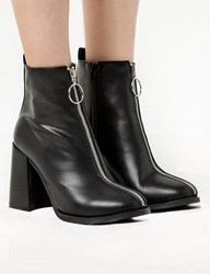 Pixie Market Ring Zipper Block Heel Ankle Boot 15 Off