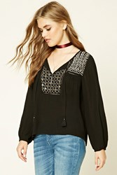 Forever 21 Geo Embroidered Peasant Top