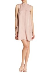 Sharagano Sleeveless Pocket Shirt Dress Petite Pink