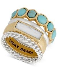 Lucky Brand Two Tone White And Blue Stone Stack Ring Ttone