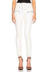 Unravel Lambskin Lace Up Skinny Pants In White