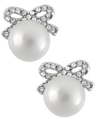 Betsey Johnson Silver Tone Crystal Bow Imitation Pearl Stud Earrings
