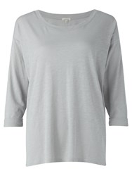 Jigsaw Cotton Slub Dropped Shoulder T Shirt Pale Grey