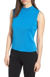 Ming Wang Mock Neck Tank Top Blue Creek