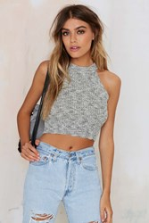 Nasty Gal Smash Knit Ribbed Crop Top Gray