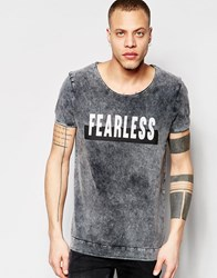 Asos Longline T Shirt With Scoop Neck And Skull Print In Heavy Acid Wash Black