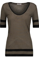 Sonia Rykiel Striped Cotton And Silk Blend Top Sand