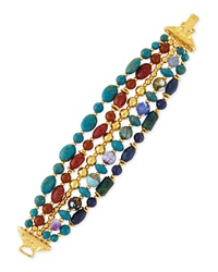 Jose And Maria Barrera Five Strand Mixed Bead Bracelet Blue