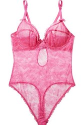 Agent Provocateur Hinda Stretch Leavers And Chantilly Lace Underwired Bodysuit Bright Pink