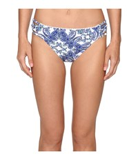 Bleu Rod Beattie Driving Miss Paisley Lattice Side Hipster Bottom Navy Women's Swimwear