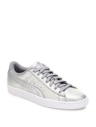 Puma Basket Holographic Leather Sneakers Silver