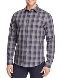 Vince Melrose Ombre Plaid Flannel Slim Fit Button Down Shirt Blue