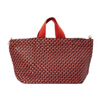 Clare V. Bateau Tote Black And Red Woven Zig Zag