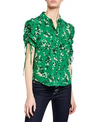 Veronica Beard Carmine Ruched Sleeve Silk Button Front Blouse Green Pattern