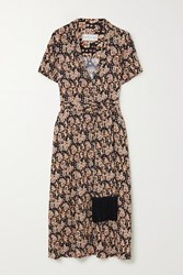 Rebecca Vallance Josephine Belted Printed Crepe Midi Dress Gold