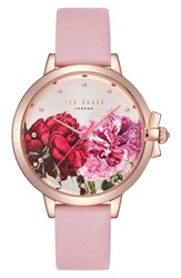 Ted Baker London Leather Strap Watch 36Mm Pink Printed Rose Gold