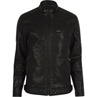 River Island Mensbig And Tall Faux Leather Racer Neck Jacket
