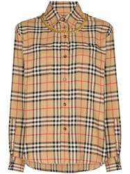 Burberry Vintage Check Chain Embellished Shirt Brown