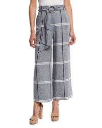 Suno Cropped Plaid Wide Leg Pants Chambray