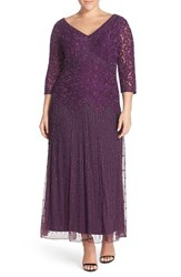 Plus Size Women's Pisarro Nights Beaded V Neck Lace Illusion Gown Plum