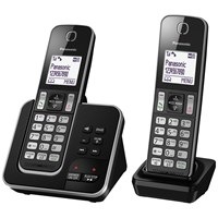 Panasonic Kx Tgd322eb Digital Cordless Phone With Nuisance Call Control And Answering Machine Twin Dect