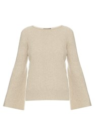 The Row Atilia Long Sleeved Ribbed Knit Sweater Light Grey