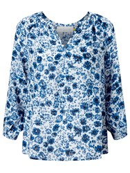 John Lewis Collection Weekend By Etched Floral Blouse Blue