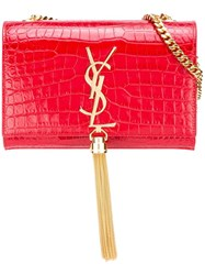 Saint Laurent Small 'Kate Monogram' Shoulder Bag Red