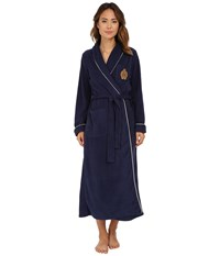 Lauren Ralph Lauren Folded Dalton Fleece Long Robe Windsor Navy Women's Robe Black